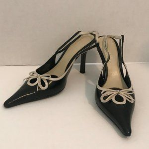 Nine West Lily Beth Black And Tan Leather Heels